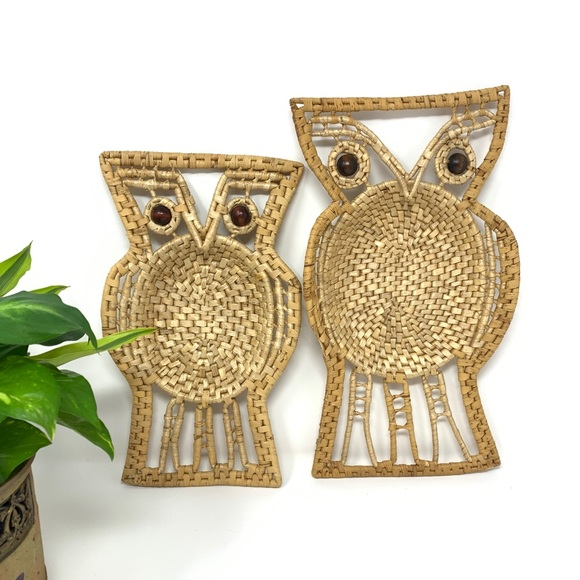 Vintage Other - Vintage Wicker Woven Rafia Wall Hanging Owl Set